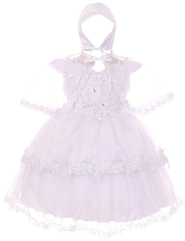611b1cc3f63 Get Quotations · Dreamer P Baby Girls Infant Organza Tulle Bonnet Cape Baptism  Christening Dresses 0-24M