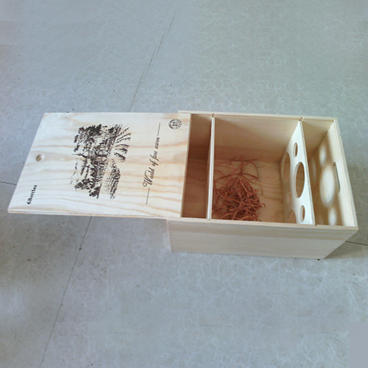 Customized luxury wooden craft gift box,Six-bottle plywood pull-out wooden box,Customized high-grade wine wooden box