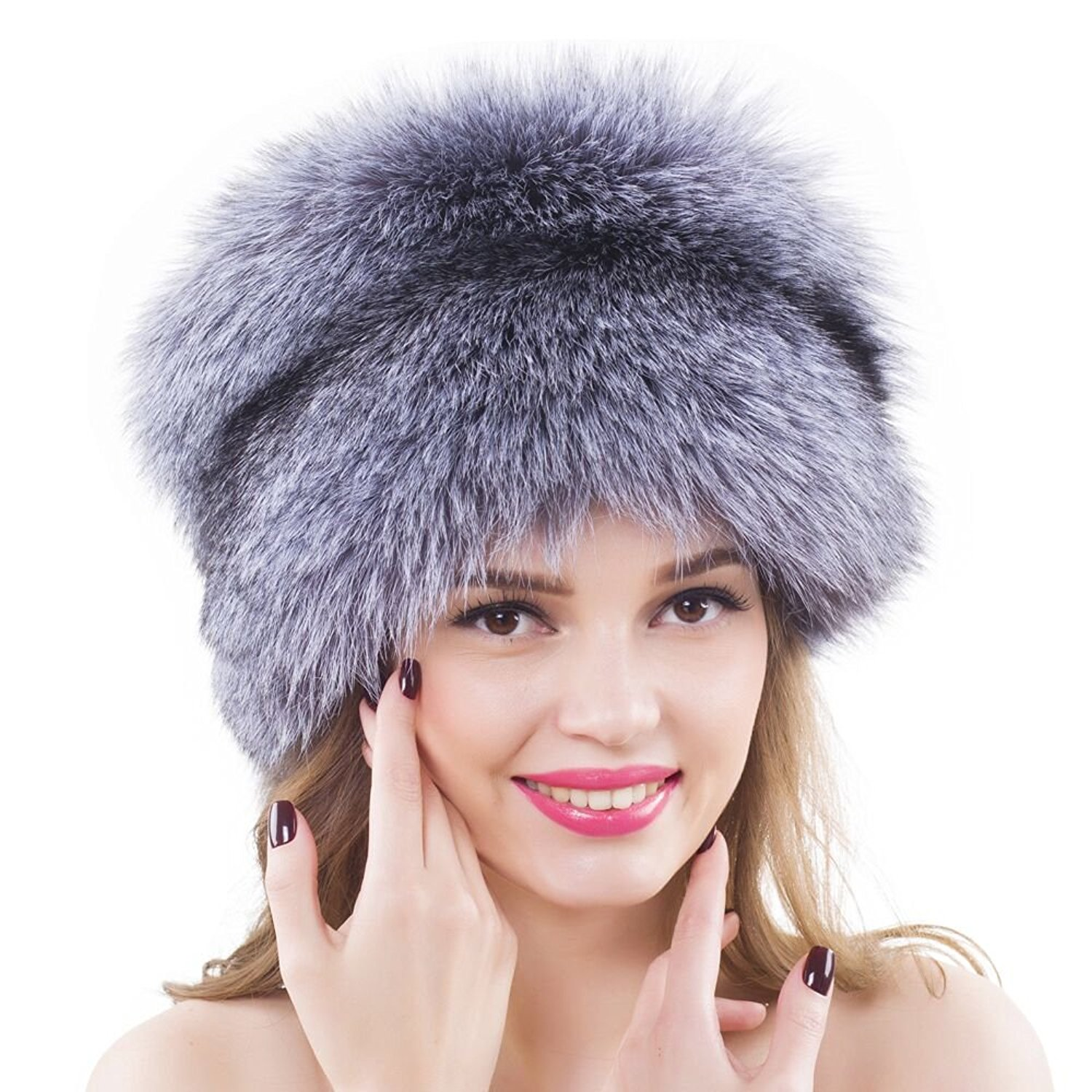 7533daee5a9 Get Quotations · Women Winter Silver Fox Fur Valpeak Trapper Hat Russian  Ushanka Hats