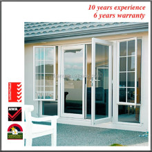 Aluminium Hinged Doors Finished Surface Mirror Closet Glass Hinged Safety Double Swing Gas Proof Bathroom Door