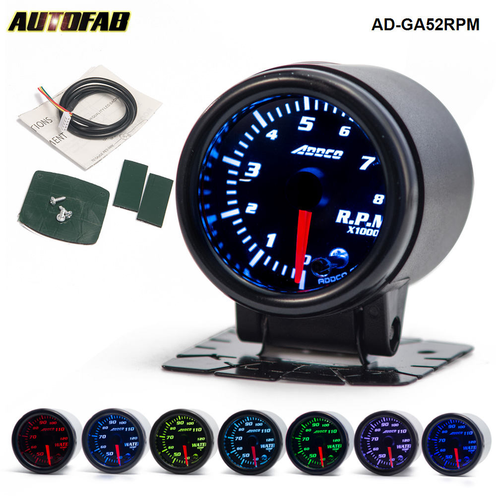 "AUTO 2"" 52mm 7 Color LED Smoke Face Car Auto Tachometer Gauge Meter With Sensor Car Meter Gauge AD-GA52RPM"