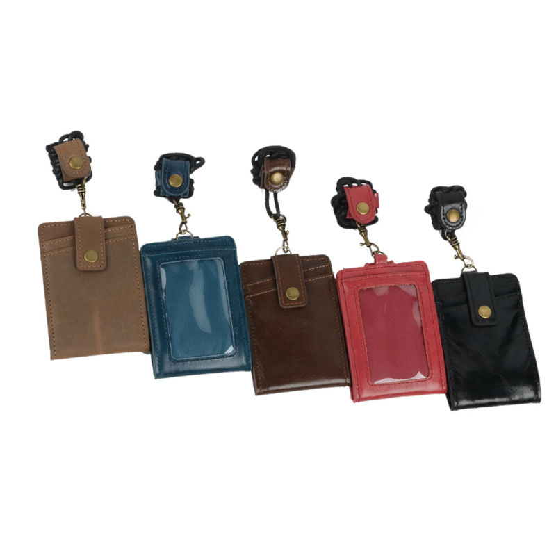 Neck Wallets 100% Genuine Leather Cowhide Card Holders Brown color ID Card Folders Accept Customized Credit Card Covers