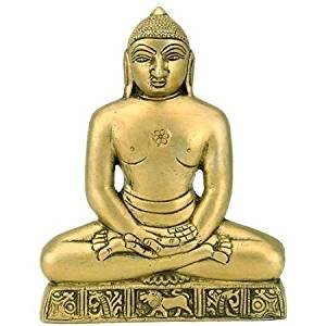 Purpledip Jain Religious God Statue Wall Hanging of Bhagwan Mahavir in Solid Brass Metal for Home, Office or Shop (10373)