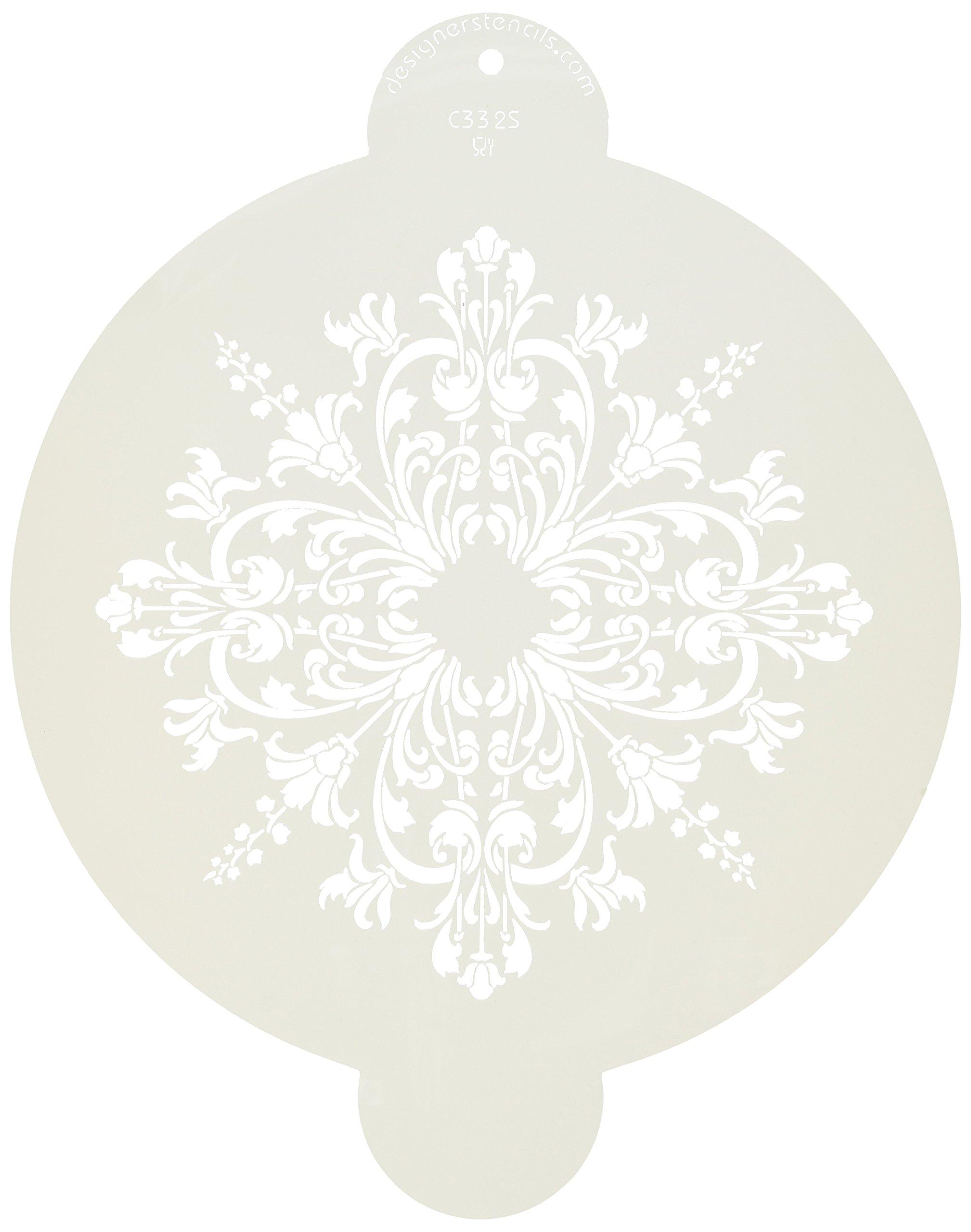 Beige//semi-transparent Designer Stencils C334 Turn of the Century Mini Medallion Stencil
