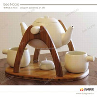 4 pieces tea set with wooden tray