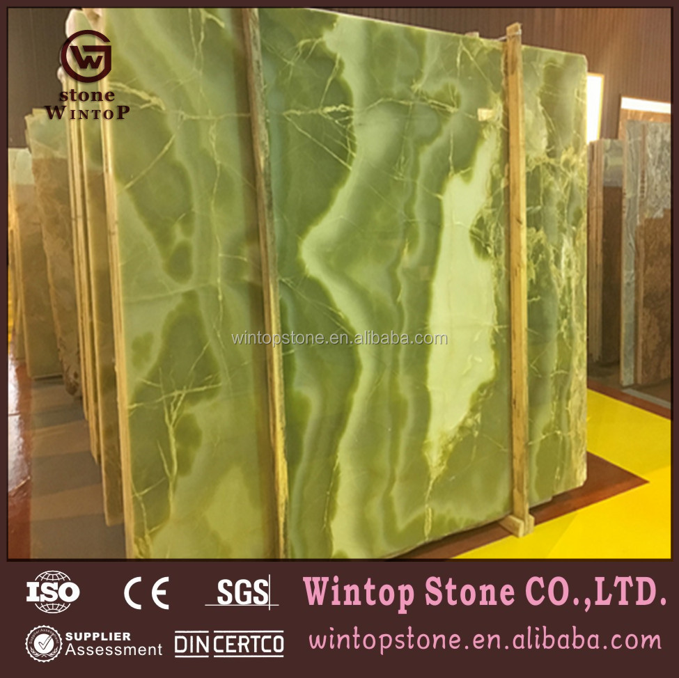 Beautiful rainforest green marble slab MS412