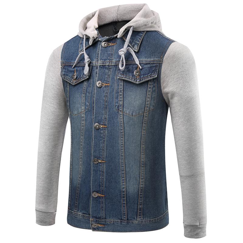Mens denim vest hoodie