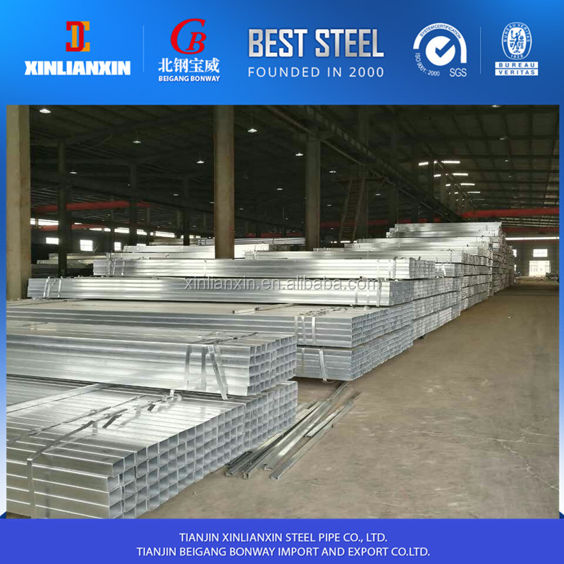 Tianjin steel factory Q195 / Q235 erw welded pre galvanized square structure steel pipe / tube