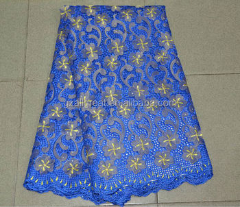 newest arrival cotton lace fabric royal blue cotton lace