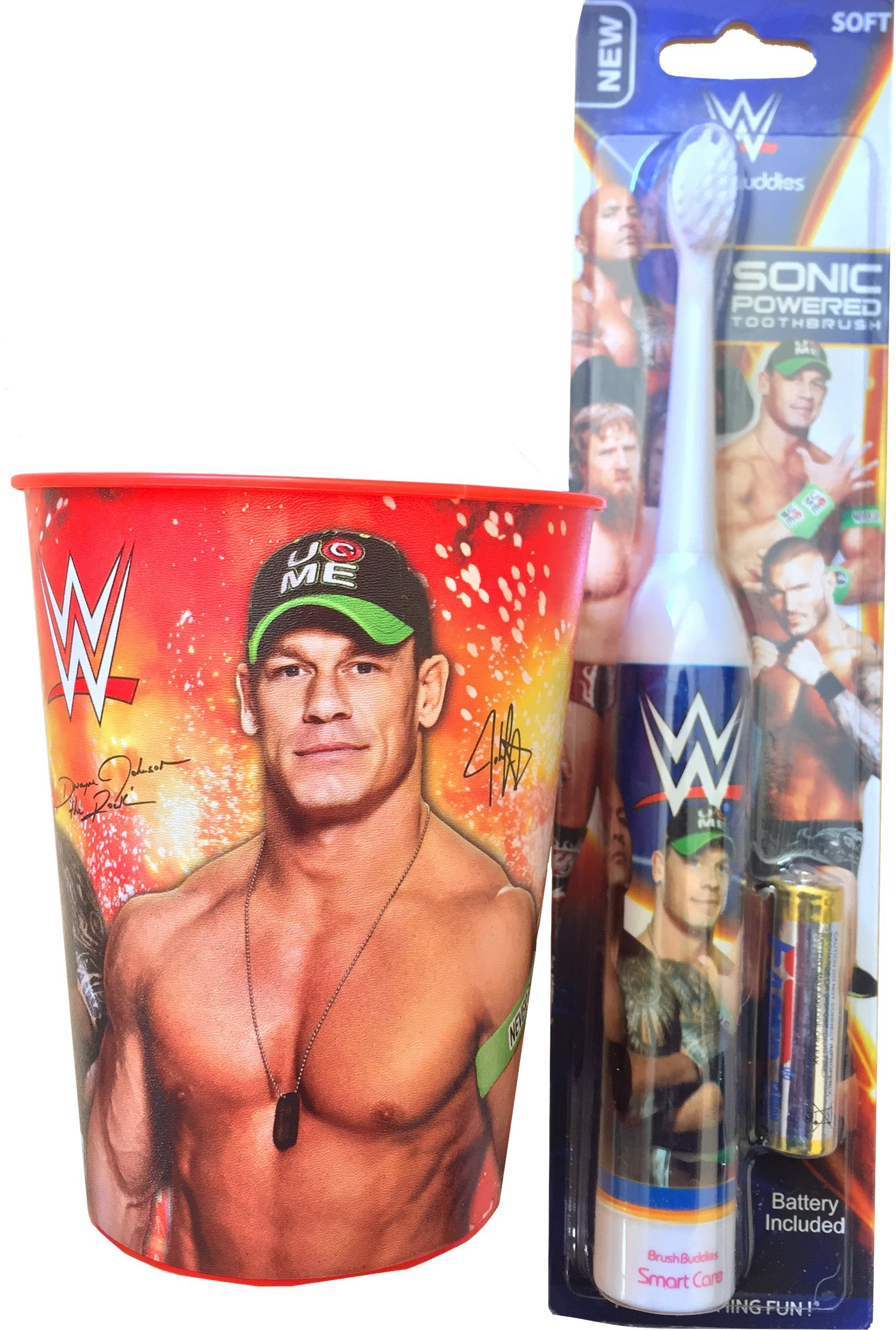 WWE John Cena Oral Hygiene Children's Powered Toothbrush with John Cena Mouth Wash Rinse Cup