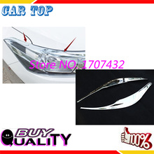 Car styling  ABS Chrome Front HeadLight Eyebrow Trim Cover Sticker For Toyota VIOS 2014 Model Exterior Decoration car accessorie