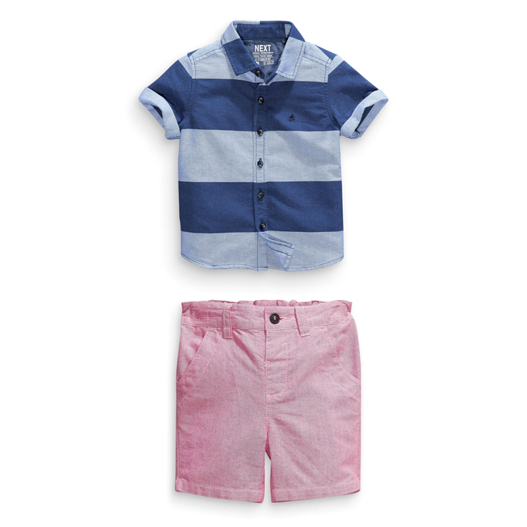 2015 Free Shipping 7sets/lot Children short sleeve colthing set boys  2pcs  Striped T- shirt + casual shorts boy summer suit