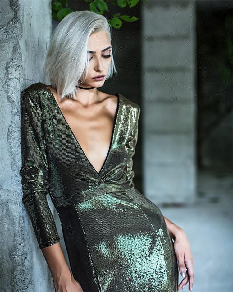 2018 lentejuelas vestido de noche caliente Atrovirens peces fuera Mujer Vestidos de Noche turco señoras Vestido de manga larga