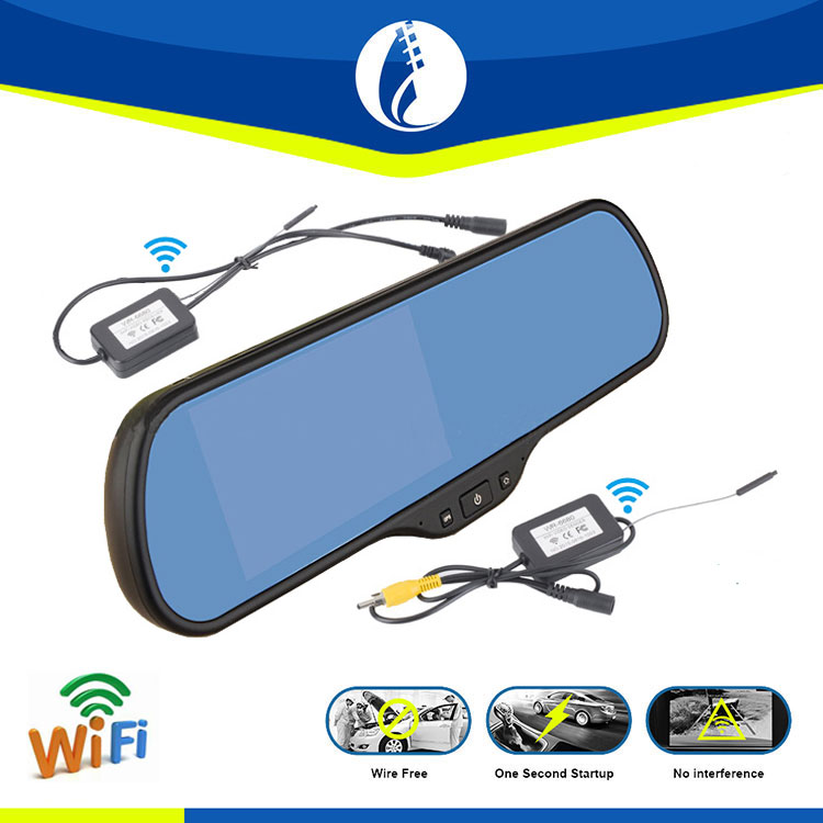 Easy installation 5.0 inch Android 4.4 wireless wifi free car dual camera car dvr radar detector rearview mirror