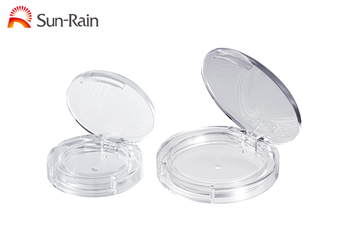 Circular compact powder blush plastic case cosmetic makeup packaging container