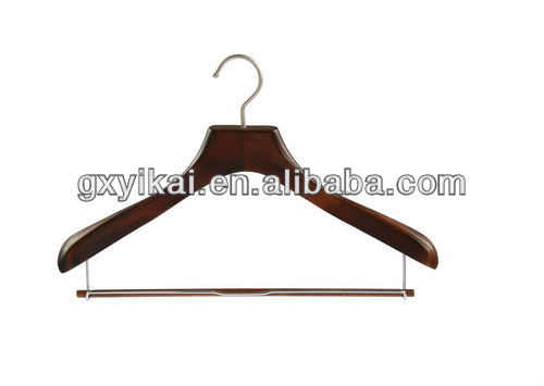 antique matte clothes hanger with matte-nickle hook and locking bar for coat