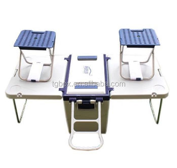 28l insulated type foldable table cooler box with chairs handle and wheels design