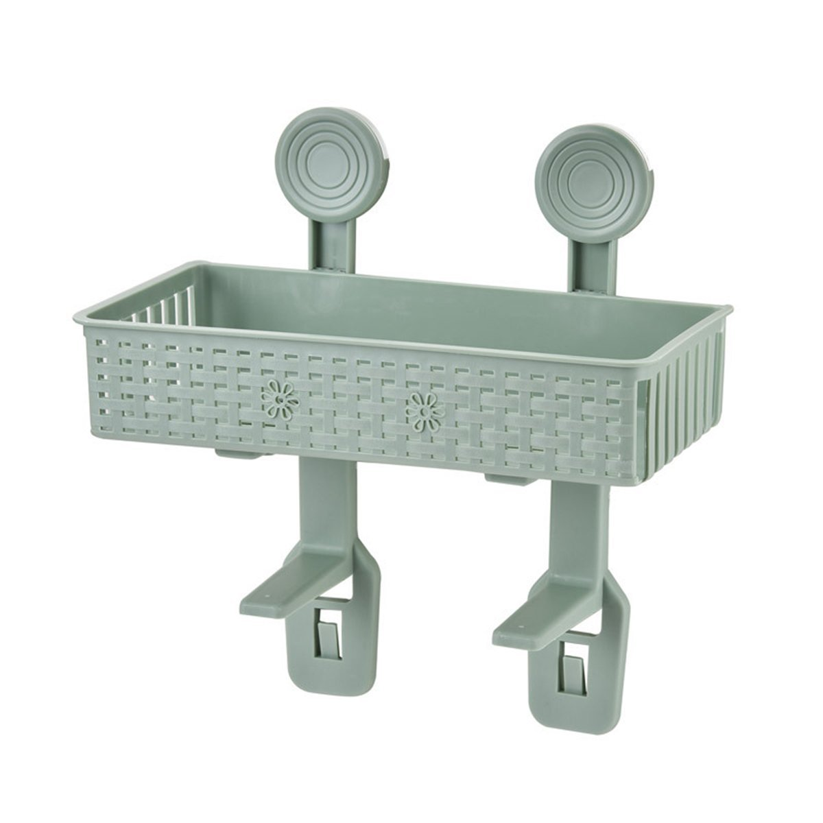 OUNONA Bathroom Basket Suction Cup Organizer Holder Wall Mounted Kitchen Toilet Shelf Storage Rack for Toilet Paper Shower Gel Shampoo (Green)