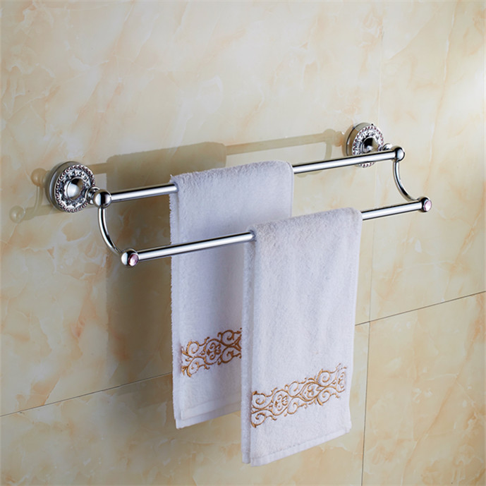 Bathroom accessories chrome brass 60cm double towel bars - Chrome and brass bathroom accessories ...