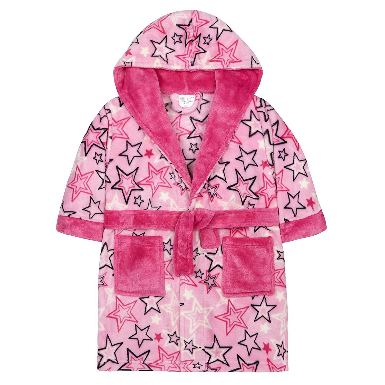 f95cd6e94b Get Quotations · MiniKidz Girls Dressing Gown Bathrobe Soft Luxurious  Flannel Fleece