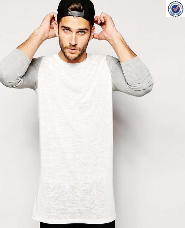 Long Line T Shirt Men With Contrast Sleeves In Slub Fabric