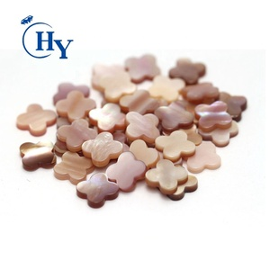 wholesale clover flat shape pink mop natural sea shell slice for necklace