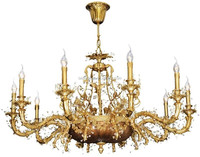 Royal Designed Large Size Antique Copper and Crystal Chandelier, Classic Italian Imperial Gilded Pendant Lamp BF11-12263hd