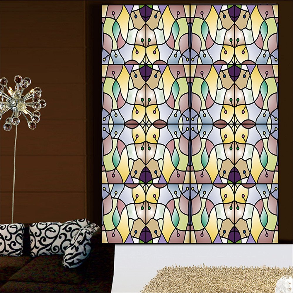 """OstepDecor Custom Translucent Non-Adhesive Frosted Stained Glass Window Films 18"""" W x 60"""" H (One Panel)"""