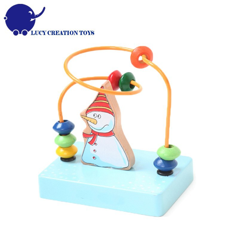 Baby Educational Wooden Happy Snow Man Mini Bead Maze