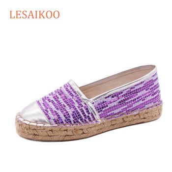 d998ca7a3bb New Arrival Jute Sole Casual Shoes Glitter Lady Shoes Factory Espadrilles
