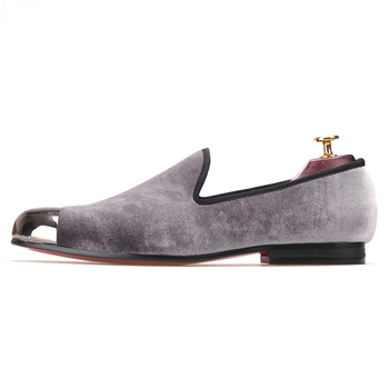 cac4f337727 Grey Men Velvet Loafers Metal Toe