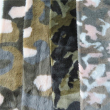Fashion pattern camouflage plush polyester long pile faux fur fabric
