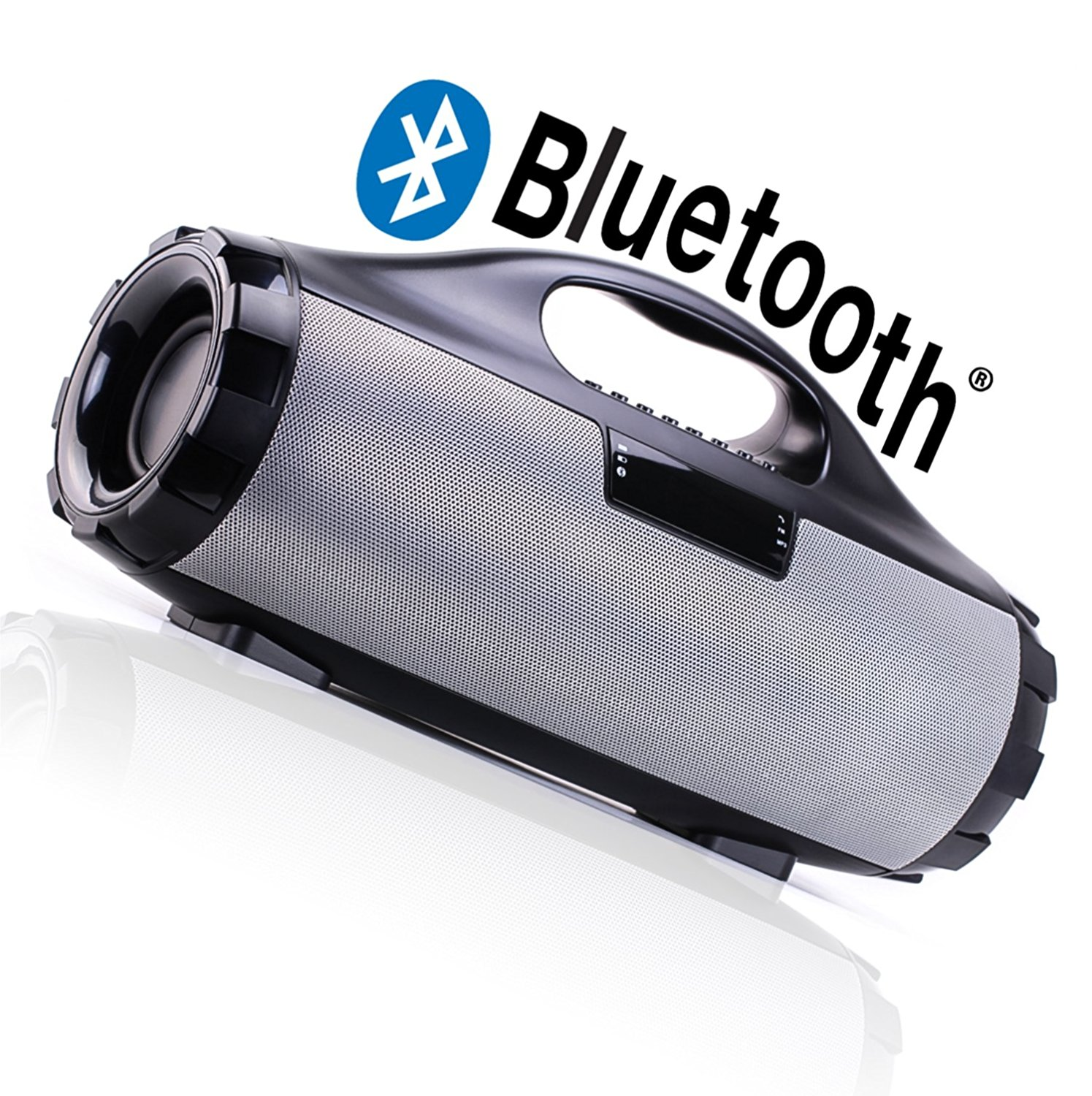 Bluetooth Boombox Speaker –Bump Your Favorite Music Anywhere with Dual Bass–Easily Connect Any Device (iPhone, iPad, Laptop, iPod, Smartphone & more)– Connect by Bluetooth, Aux Input, USB & more
