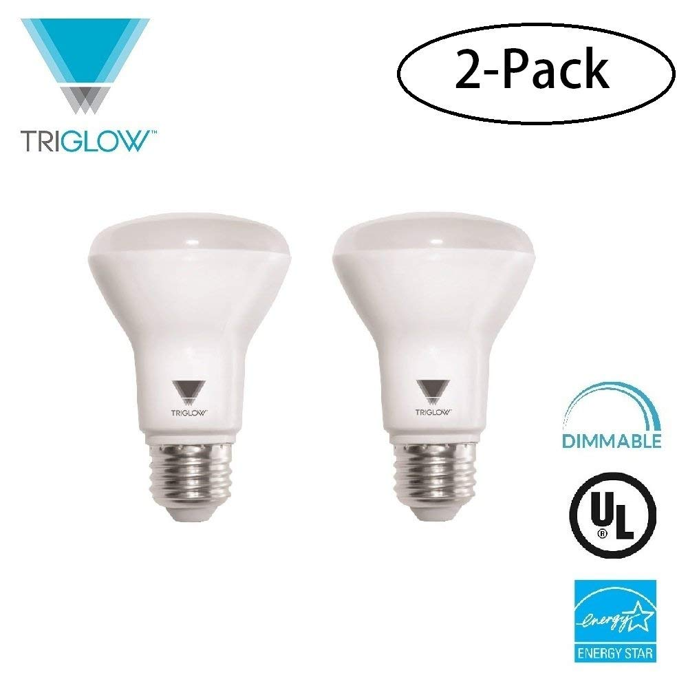 TriGlow (2-Pack) LED 7-Watt (50W Equivalent) BR20 Bulb, 550 Lumen, DIMMABLE 3000K (Soft White) UL Listed and Energy Star Certified LED R20 Light Bulb