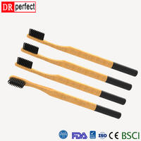Biodegradable FDA 100% Bamboo Toothbrush Round Handle Charcoal Bristle Toothbrush High Quality