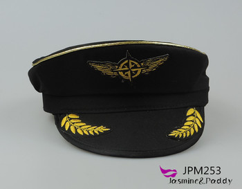 Black Military Officer Hat Sailor Hats Uniform Pilot Cap With Embroidered  Label - Buy Military Officer Hat 83fa296e527