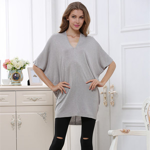 New autumn/spring Korean loose bat sleeve V long sweater collar sweater head down ladies elegant sweater