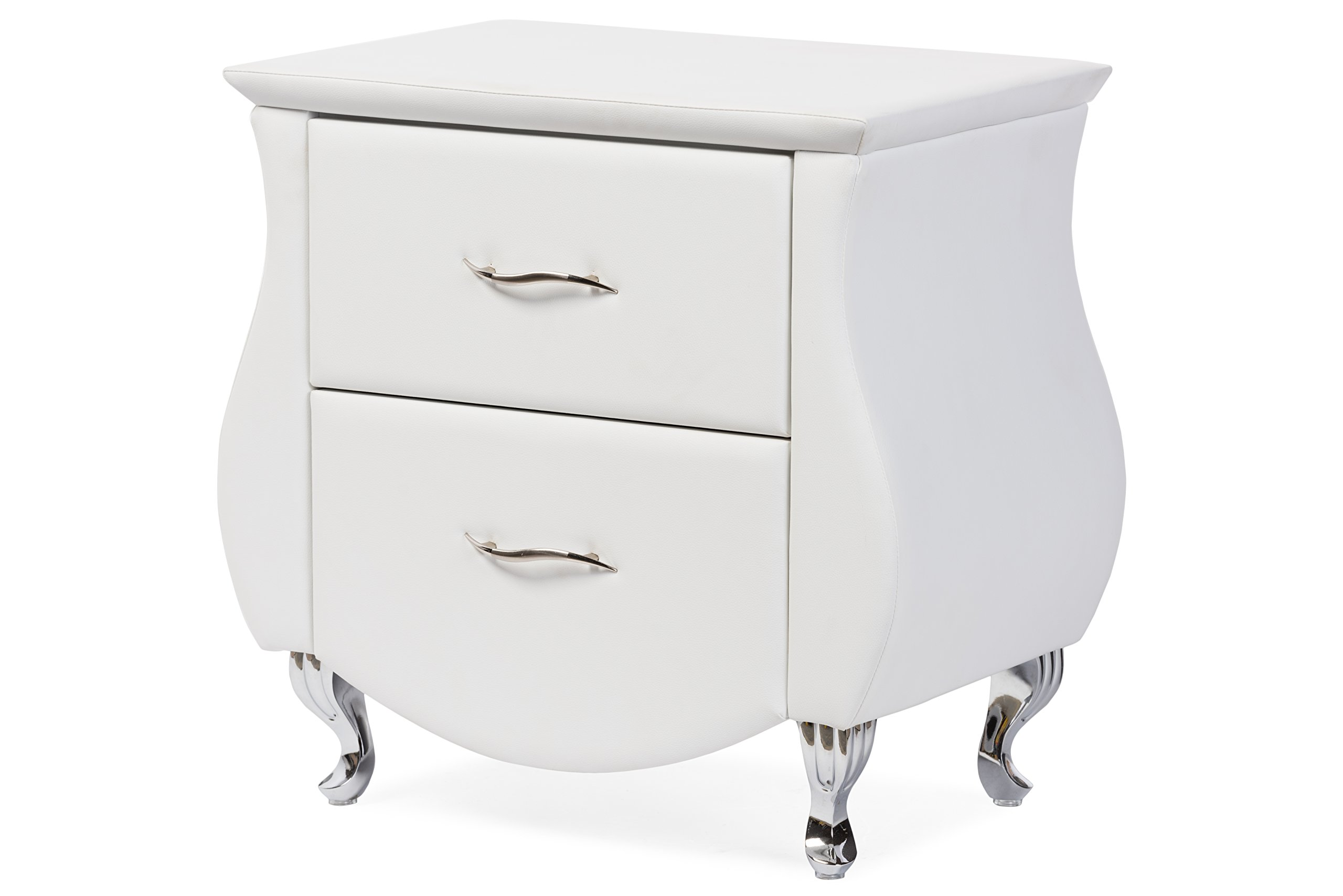 Baxton Studio Erin Modern & Contemporary Faux Leather Upholstered Nightstand, Medium, White