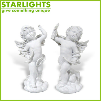 Hand Paint Resin Wing Angel With A Baby Figurine Statue