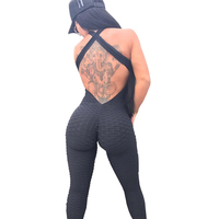 High Quality Black Cross Hollow Out One Piece Jumpsuit Open Back Women Leggings
