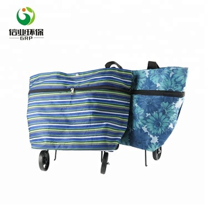 Striped oxford vegetable foldable shopping trolley Cart bag with wheels