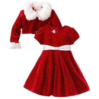 Wholesale winter Christmas red background white polka dots with plush little girl dress