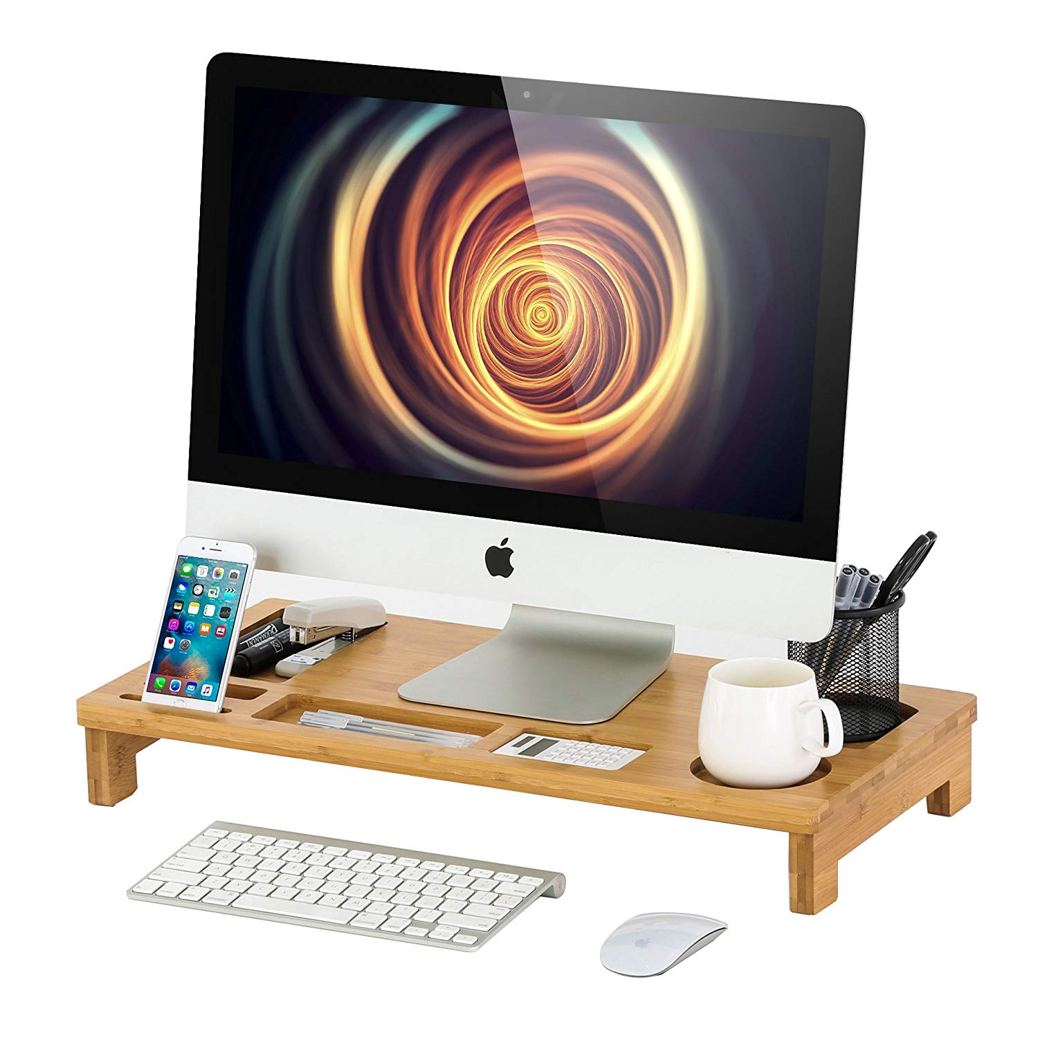 Homury Bamboo Wood Computer Monitor Stand Riser with Storage Organizer Office Desk Laptop Cellphone Desktop TV Printer Stand,Natural