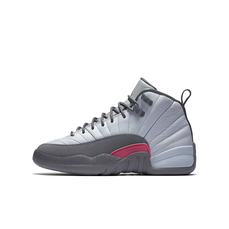 sports shoes 810b9 282ef Get Quotations · Nike Girls Air Jordan 12 Retro GG Wolf Grey/Vivid Pink  Leather