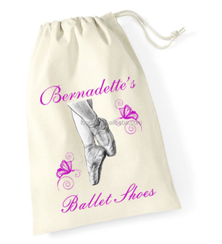 Personalized Printed Ballet Cotton Fabric Shoe Bag