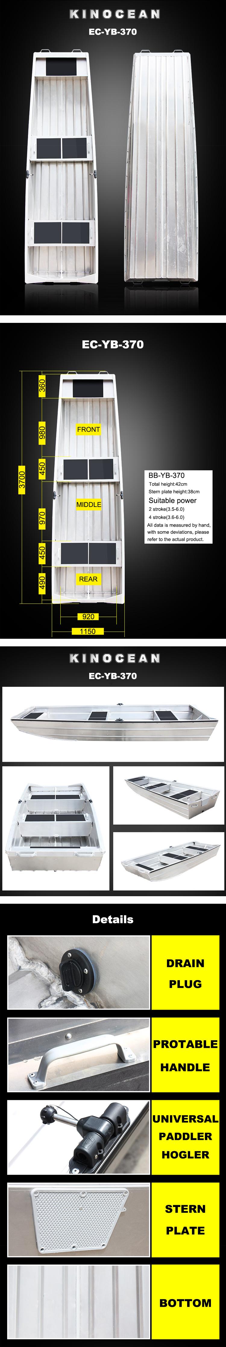 Kinocean 12ft Tất Cả Hàn Đáy Phẳng Nhôm Jon Thuyền