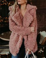Warm winter faux fur coat women Fashion streetwear large sizes long coat female 2019 Pink casual autumn coat trench outerwear