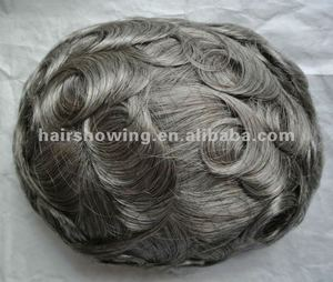 Grey hair lace skin men's toupee