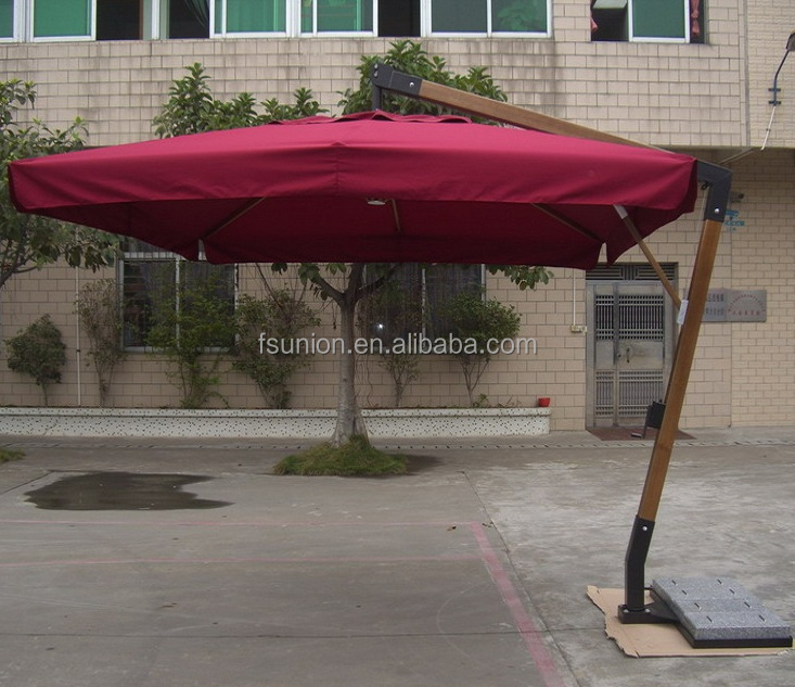 Giant Wooden Hanging Patio Umbrellas with Granite Base