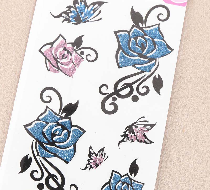 Non-toxic Full Back Waterproof Temporary Sexy Glitter Flower Body Tattoo Sticker